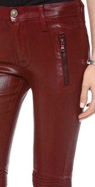 Hudson Moto Super Skinny Jeans In Red Crimson Wax Lyst