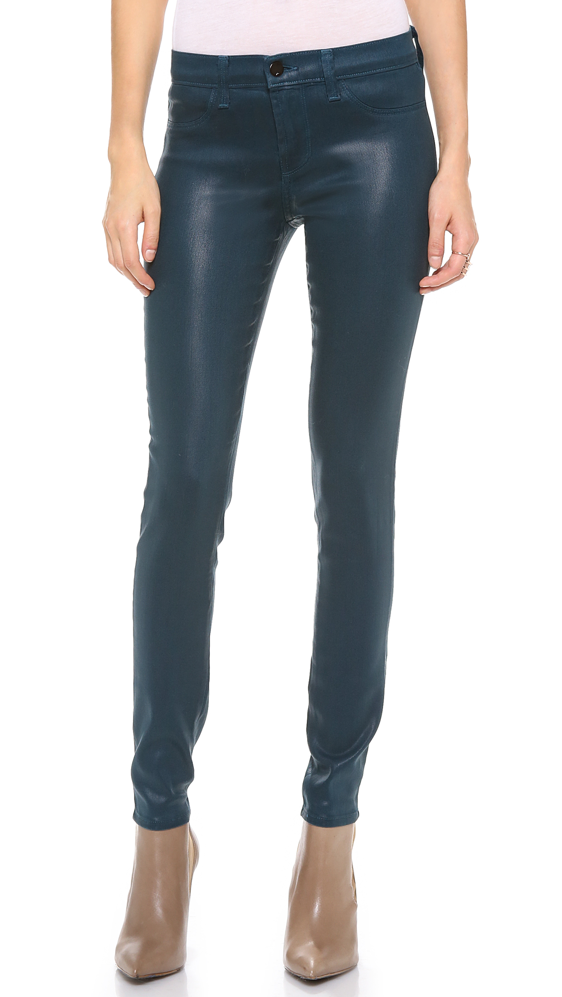 j brand 485 super skinny coated jeans in blue lacquered. Black Bedroom Furniture Sets. Home Design Ideas