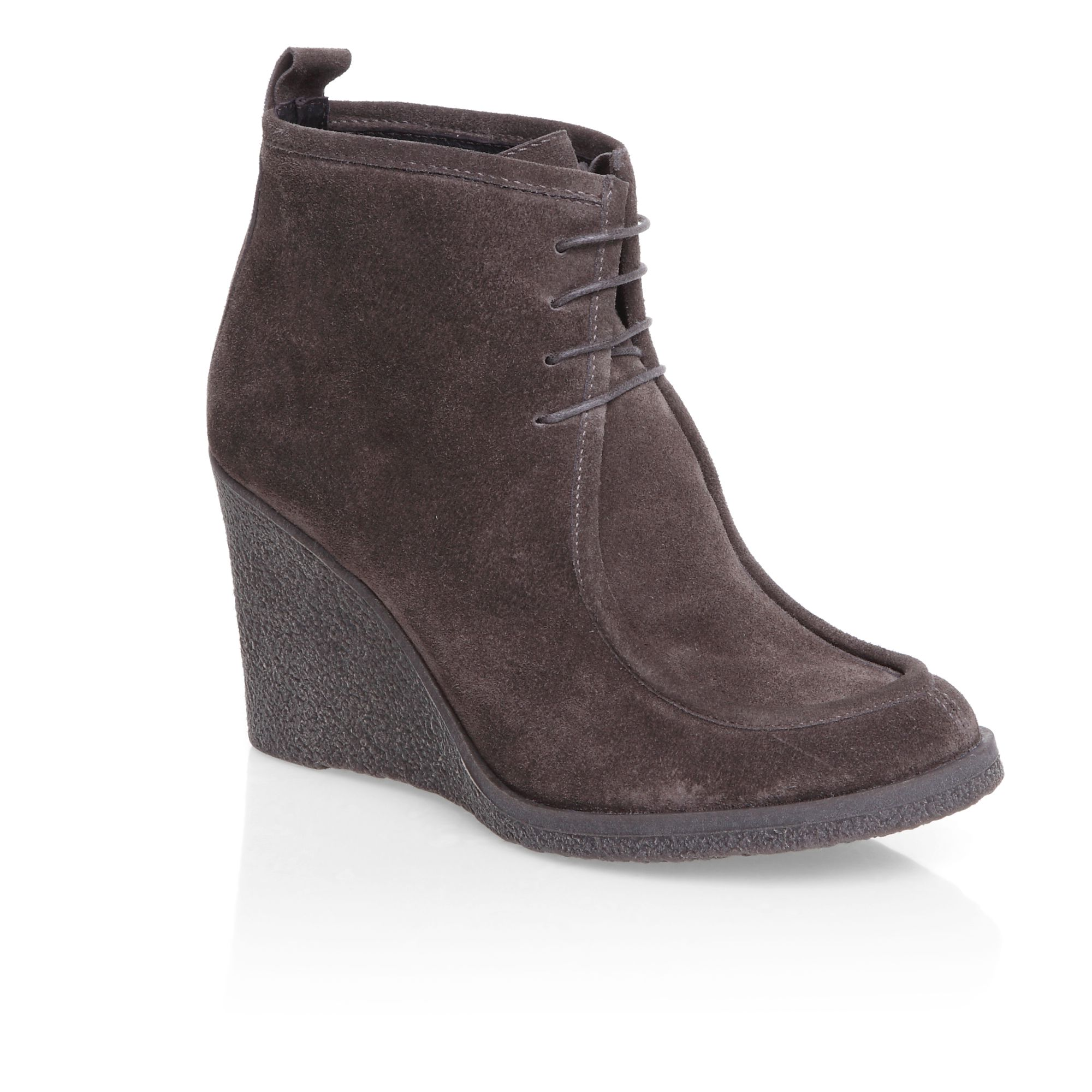 mascotte crepe wedge lace up shoe boots in brown lyst