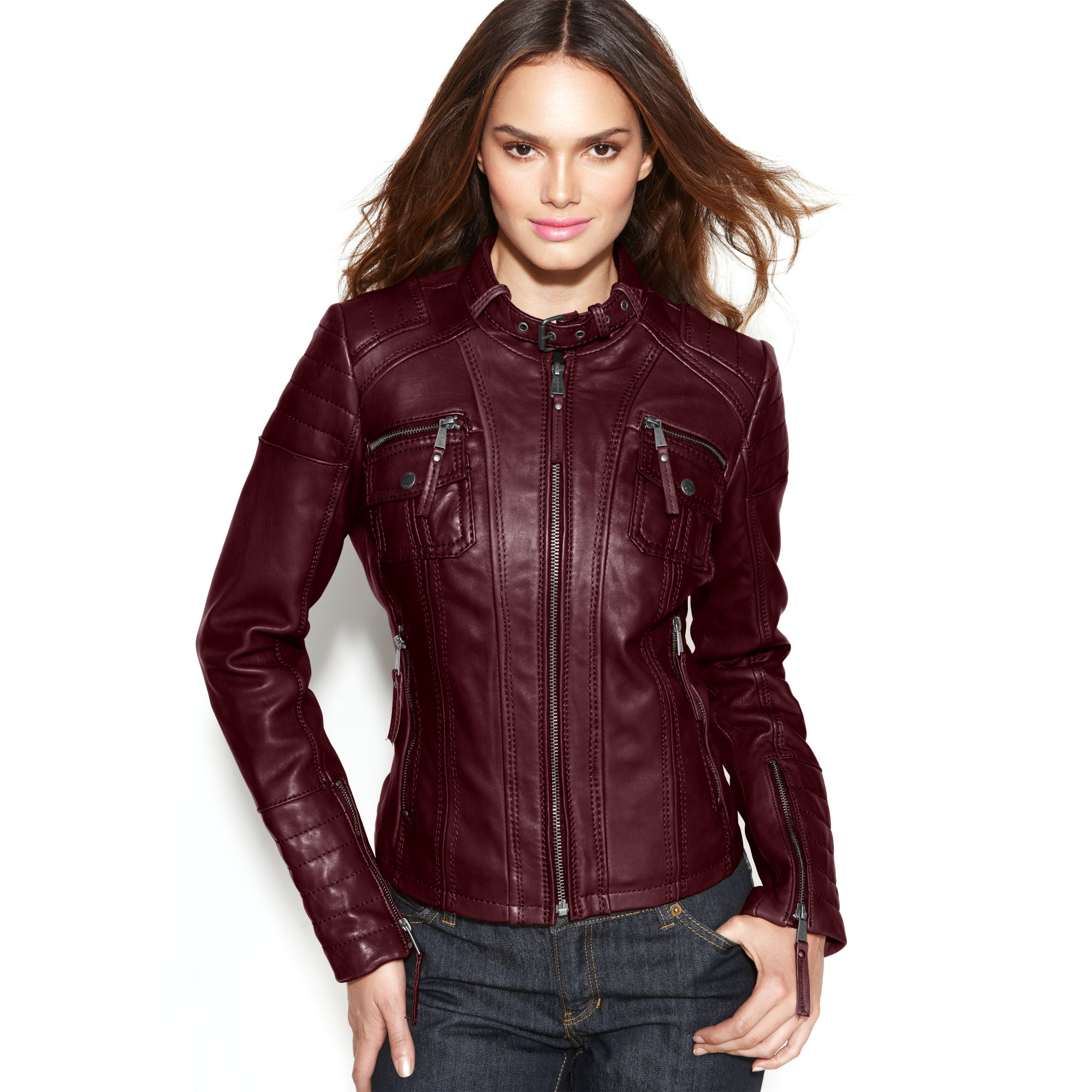 Michael kors leather bucklecollar motorcycle jacket in red for Red leather shirt for womens
