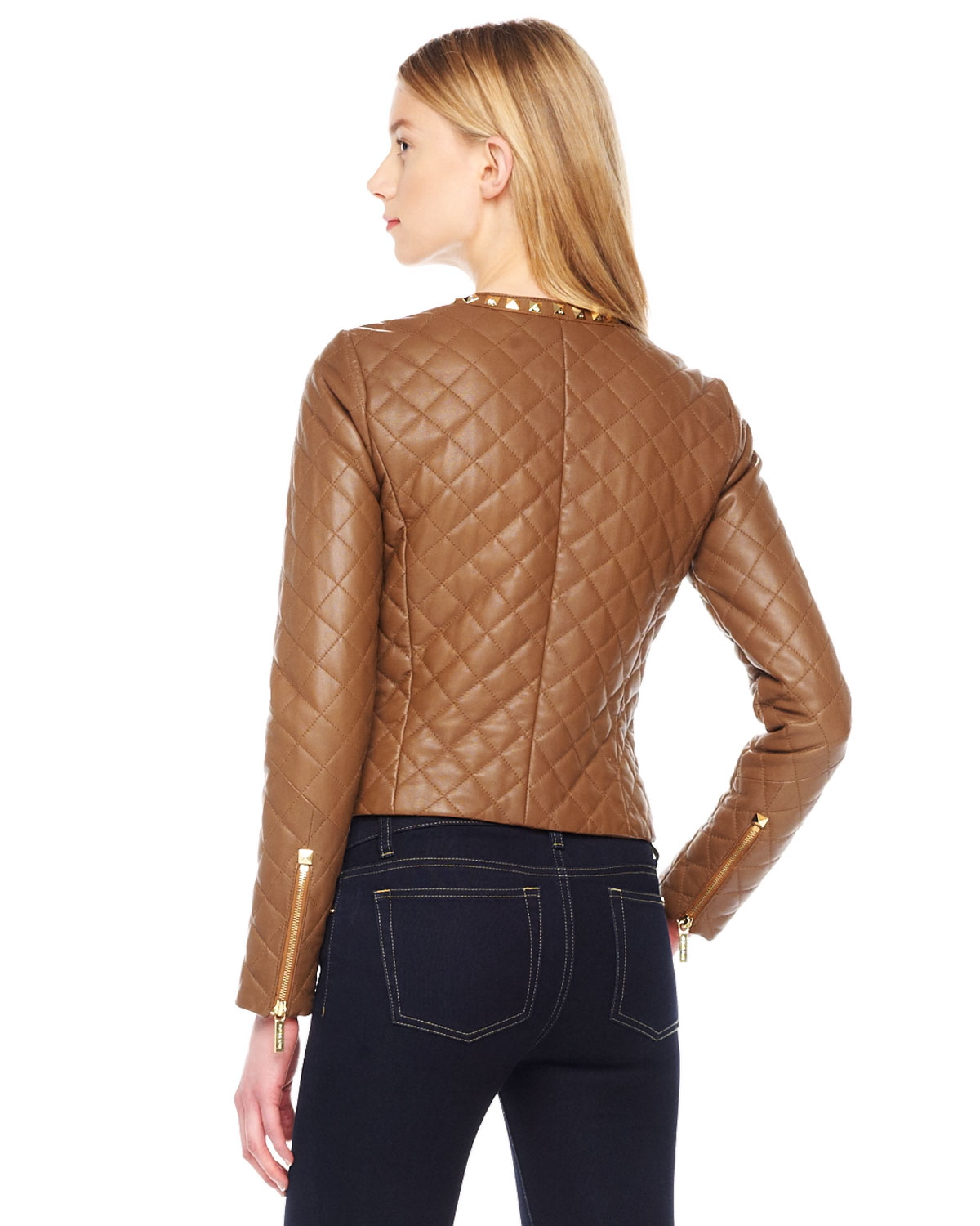 Michael kors Michael Studtrim Quilted Leather Jacket in Brown | Lyst