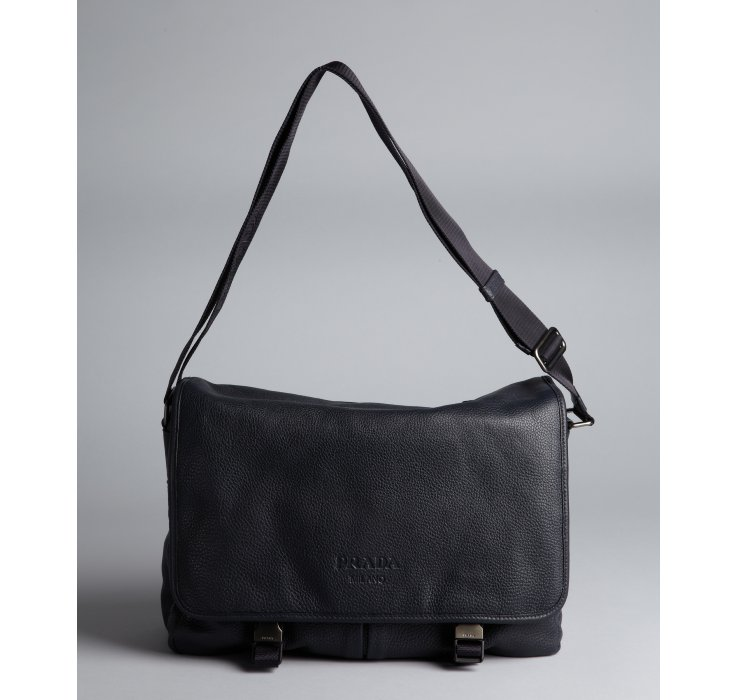 Prada Navy Pebbled Leather Messenger Bag in Blue for Men (navy) | Lyst