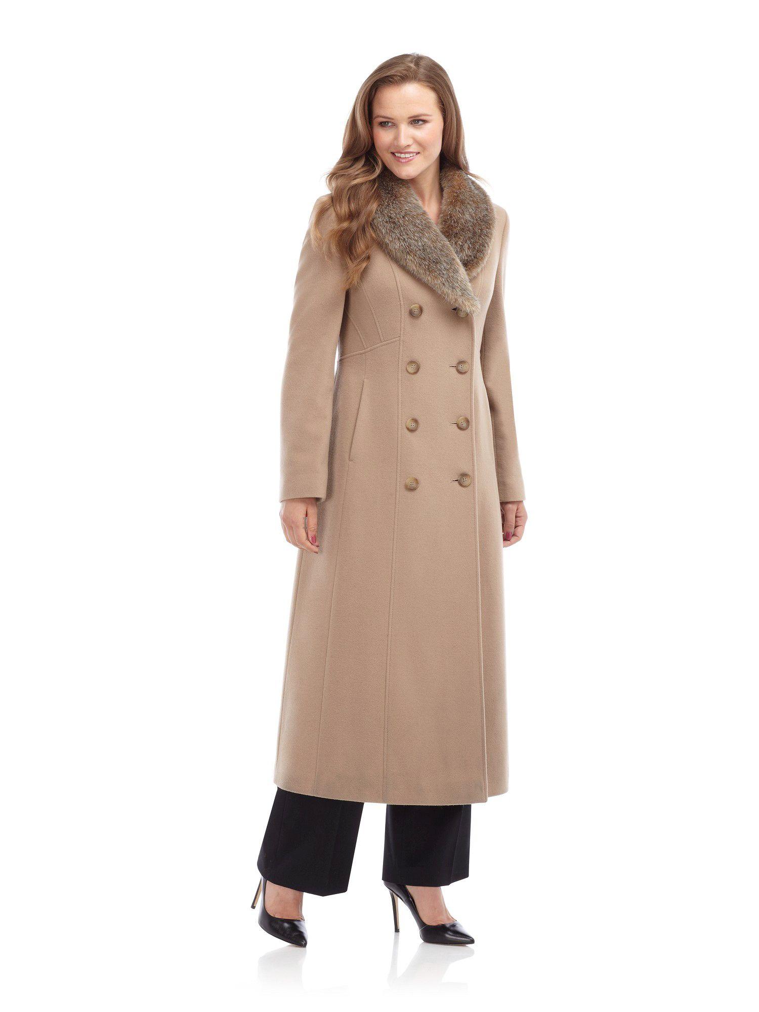 Precis petite Long Camel Wool Coat in Natural | Lyst
