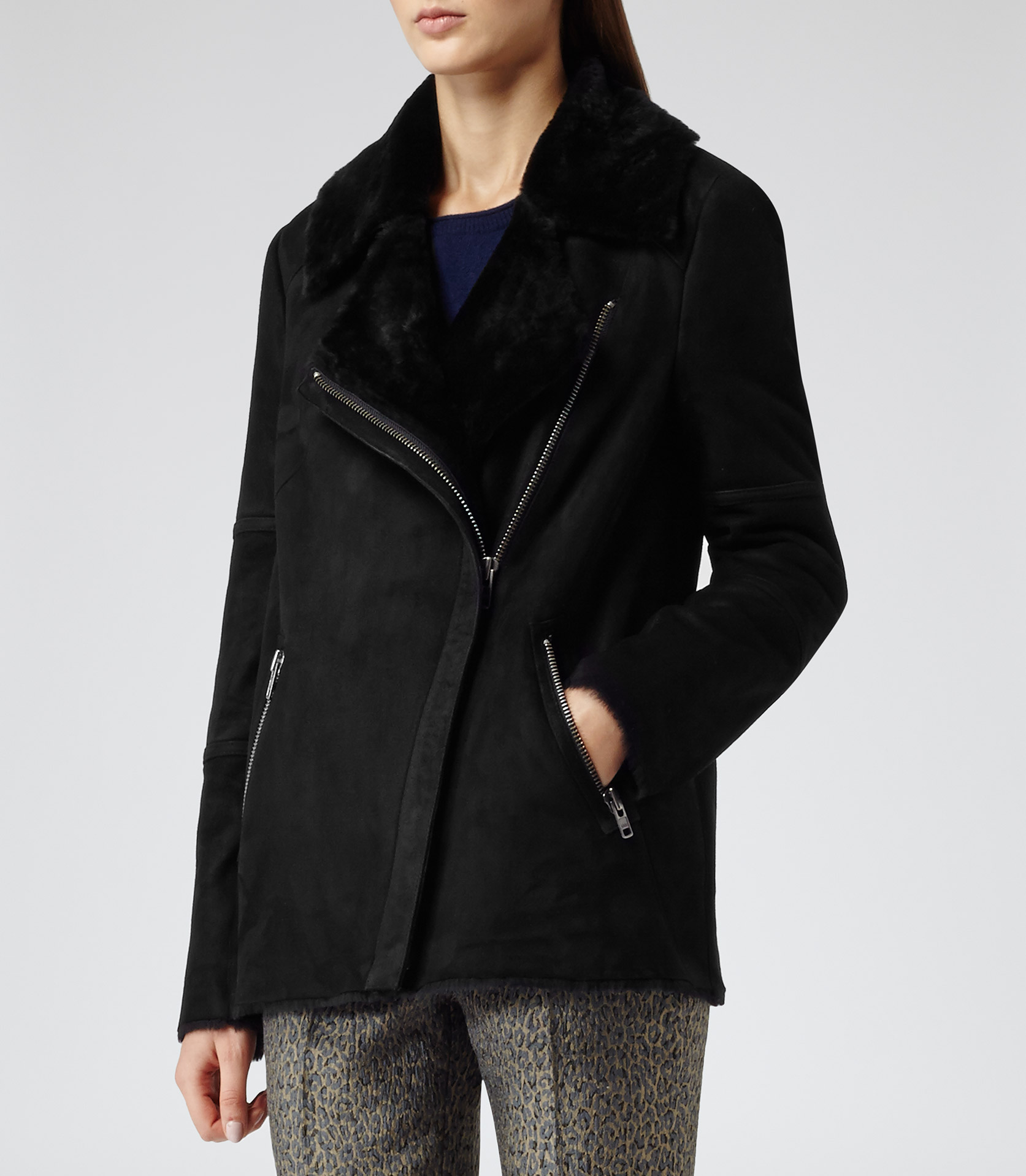 Reiss Annecy Shearling Leather Coat in Black | Lyst