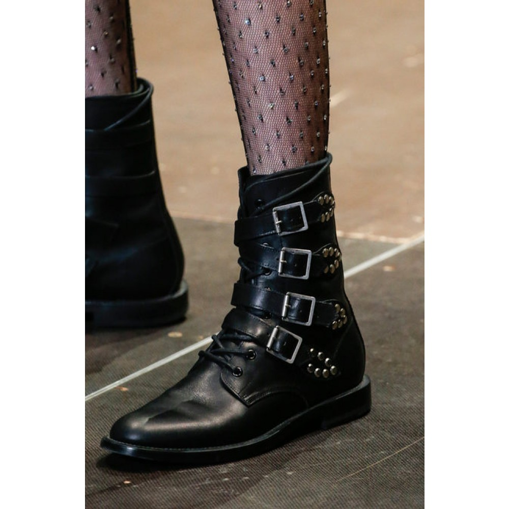 Saint Laurent Rangers Studded Leather Boots in Black - Lyst a9e6885d89d4