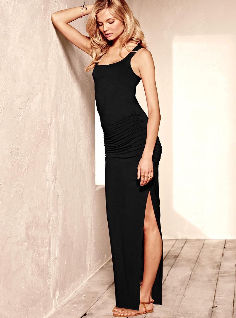 Victoria 39 S Secret Ruched Maxi Dress In Black Lyst