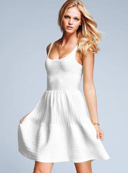 Victoria 39 S Secret Cotton Fitandflare Dress In White Lyst