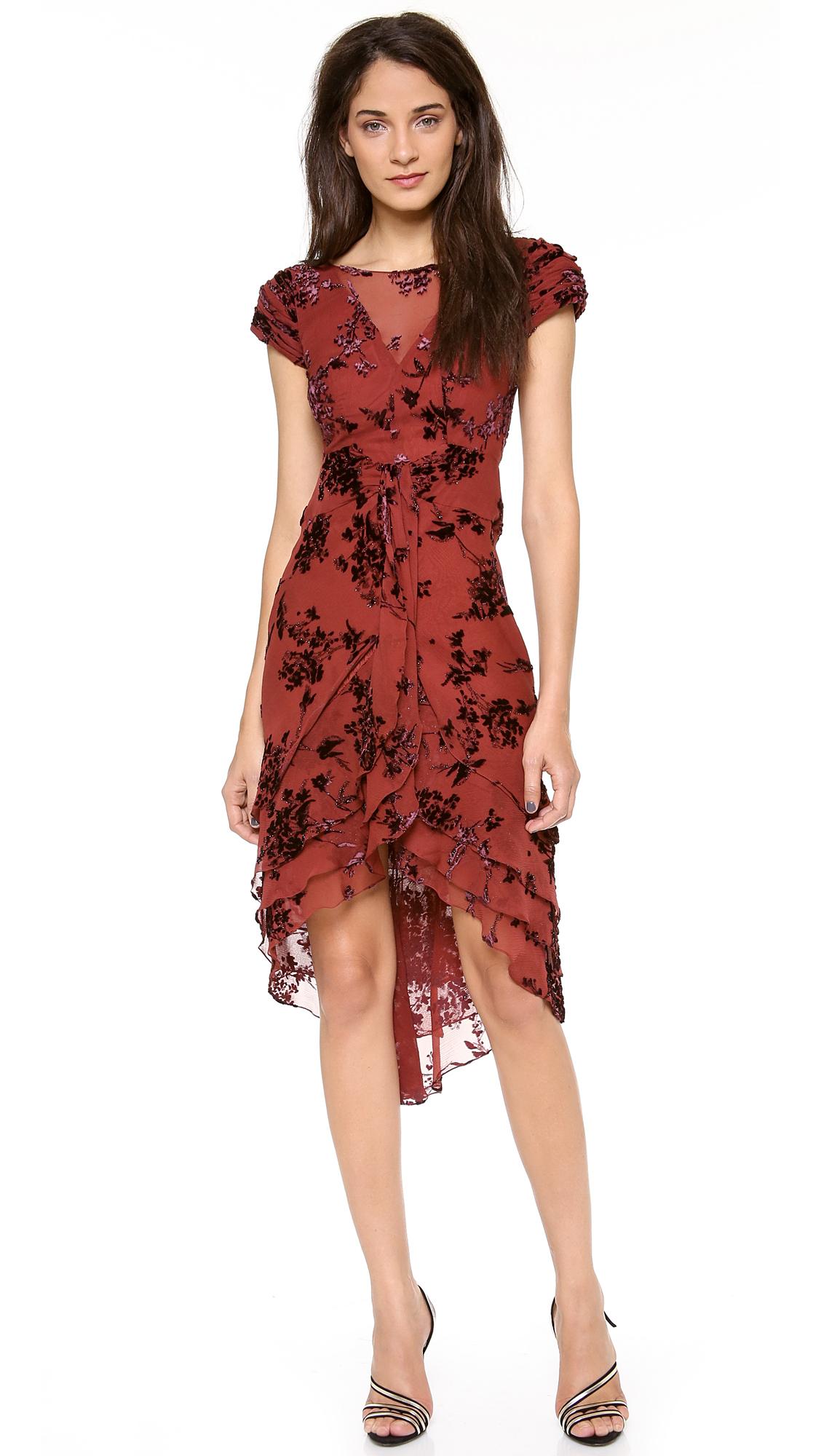Zac posen Silk Short Sleeve Dress in Brown - Lyst