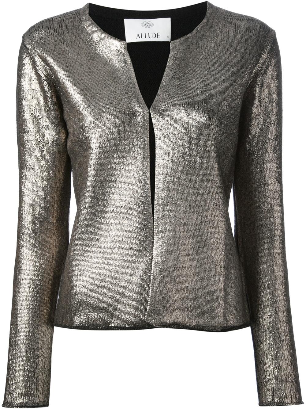 Lyst Allude Metallic Coated Cardigan In Metallic