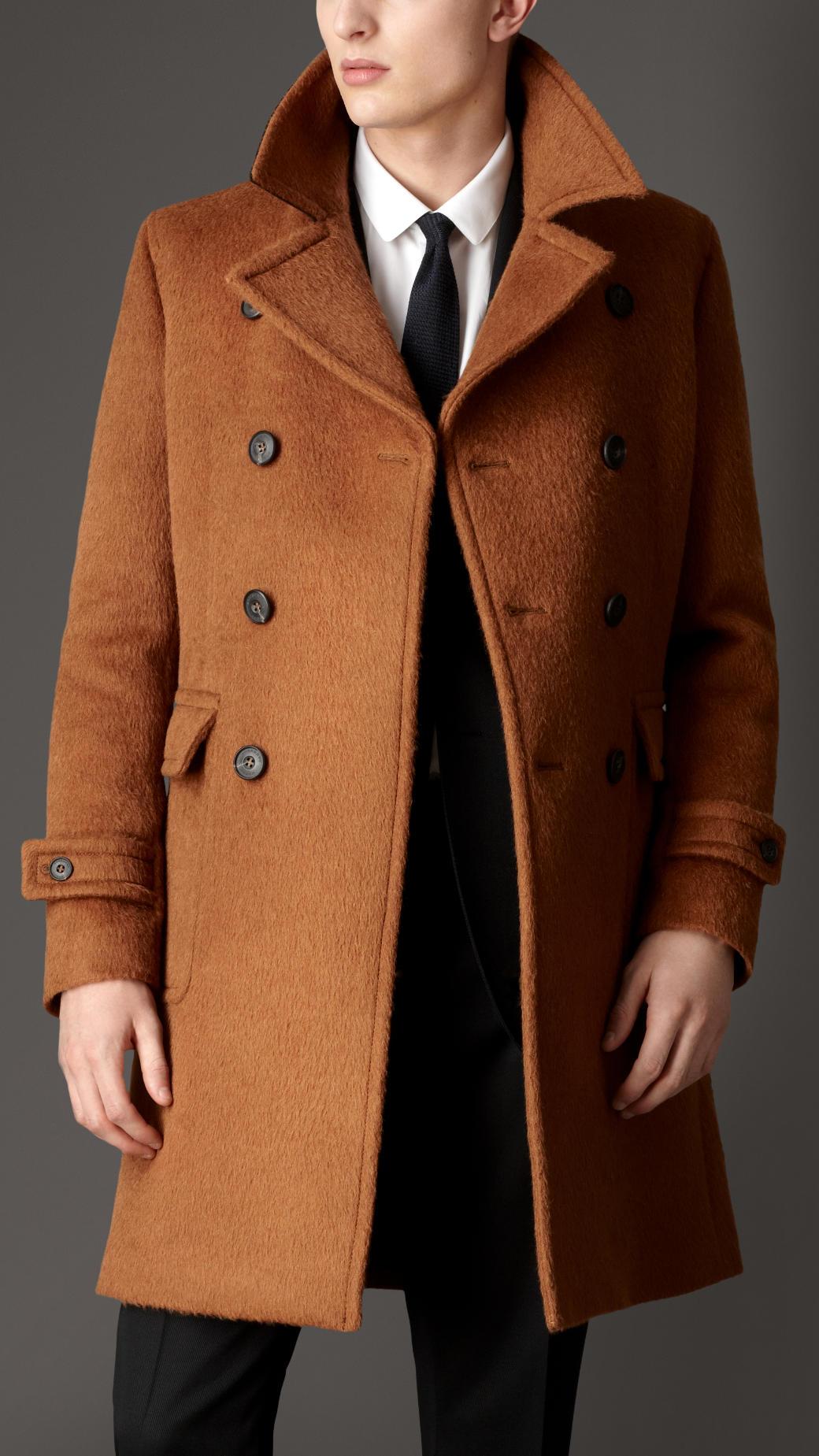 Burberry Doublebreasted Virgin Wool Alpaca Coat In Brown For Men Lyst
