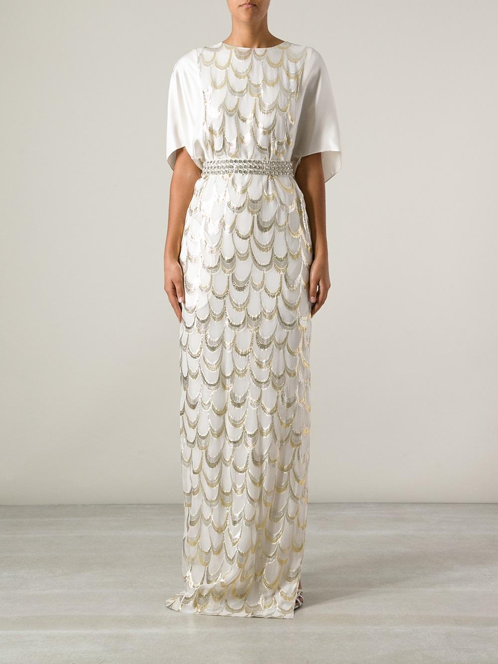 f6542e31d863 By Malene Birger Diamante Maxi Dress in White - Lyst