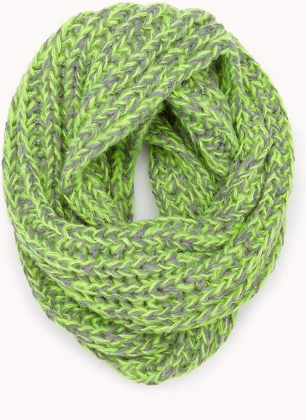 Forever 21 Duotoned Infinity Scarf in Green (Neon green ...