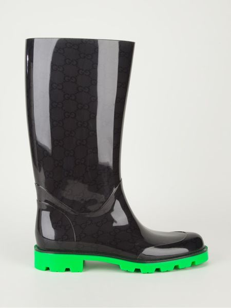 Perfect Gucci Beige Rubber Logo Print Rainboots In Brown Beige  Lyst