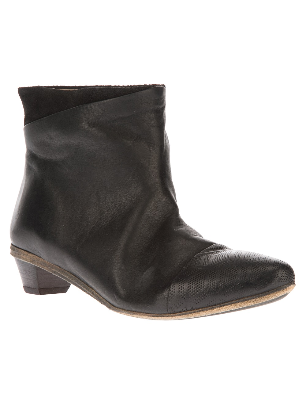 marsell calf leather pointed toe boots in black lyst