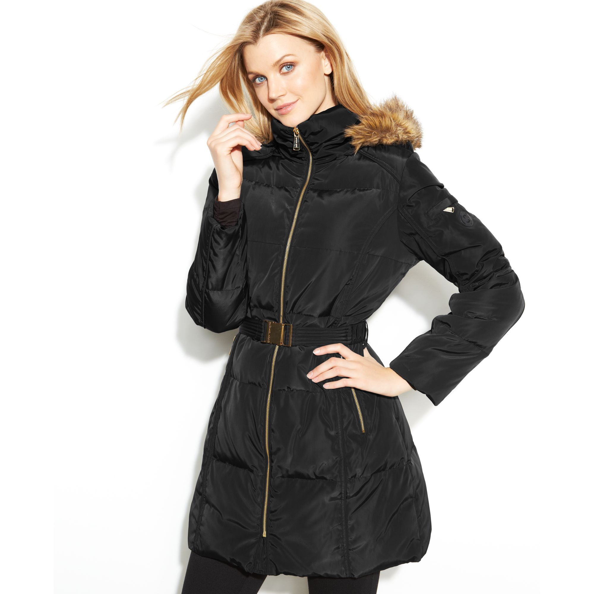 how to serch pretty cool online here Michael Kors Black Hooded Faux-fur-trim Belted Puffer