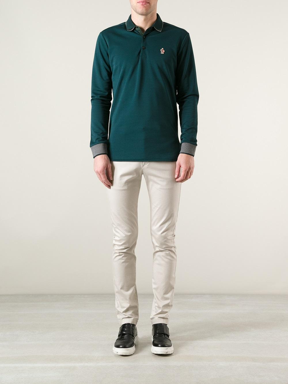 moncler long sleeve polo green
