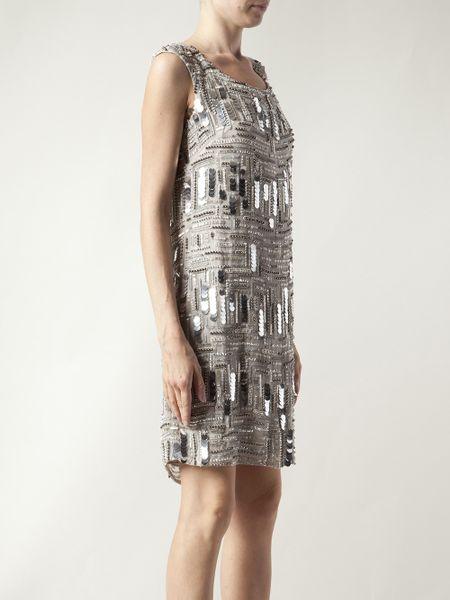 Silver Metallic Dress Shift Dress in Silver