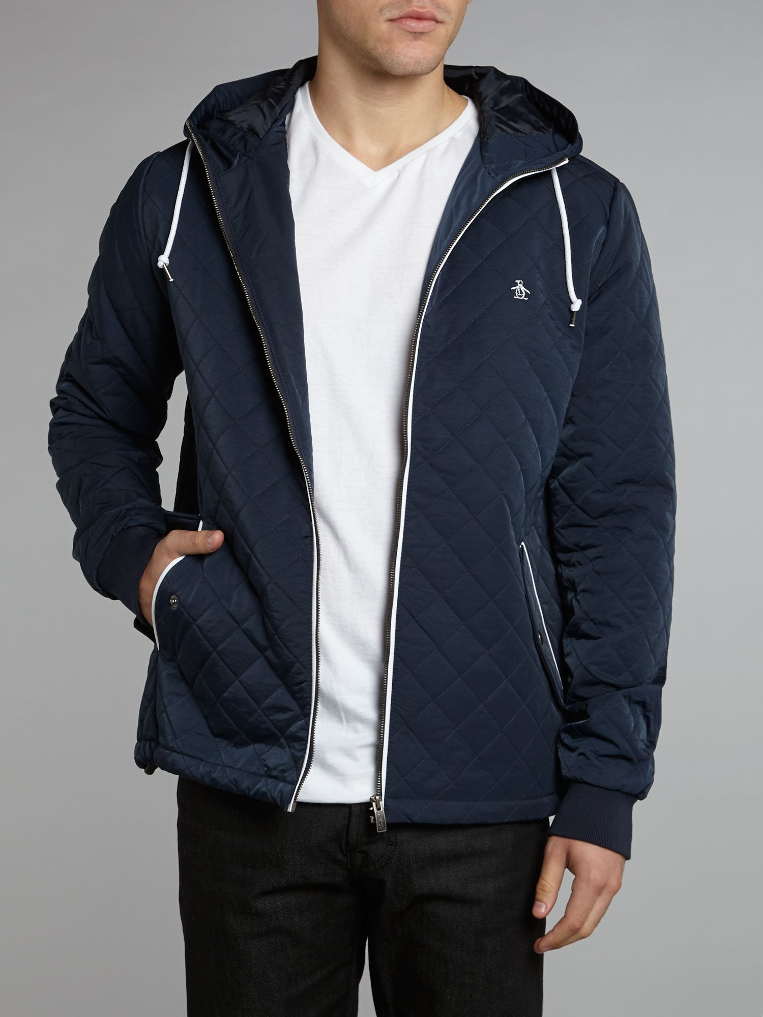 Original penguin Quilted Hooded Ratner Jacket in Blue for Men | Lyst : penguin quilted jacket - Adamdwight.com