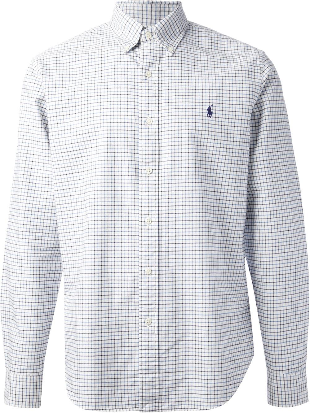 Lyst - Polo ralph lauren Check Shirt in White for Men