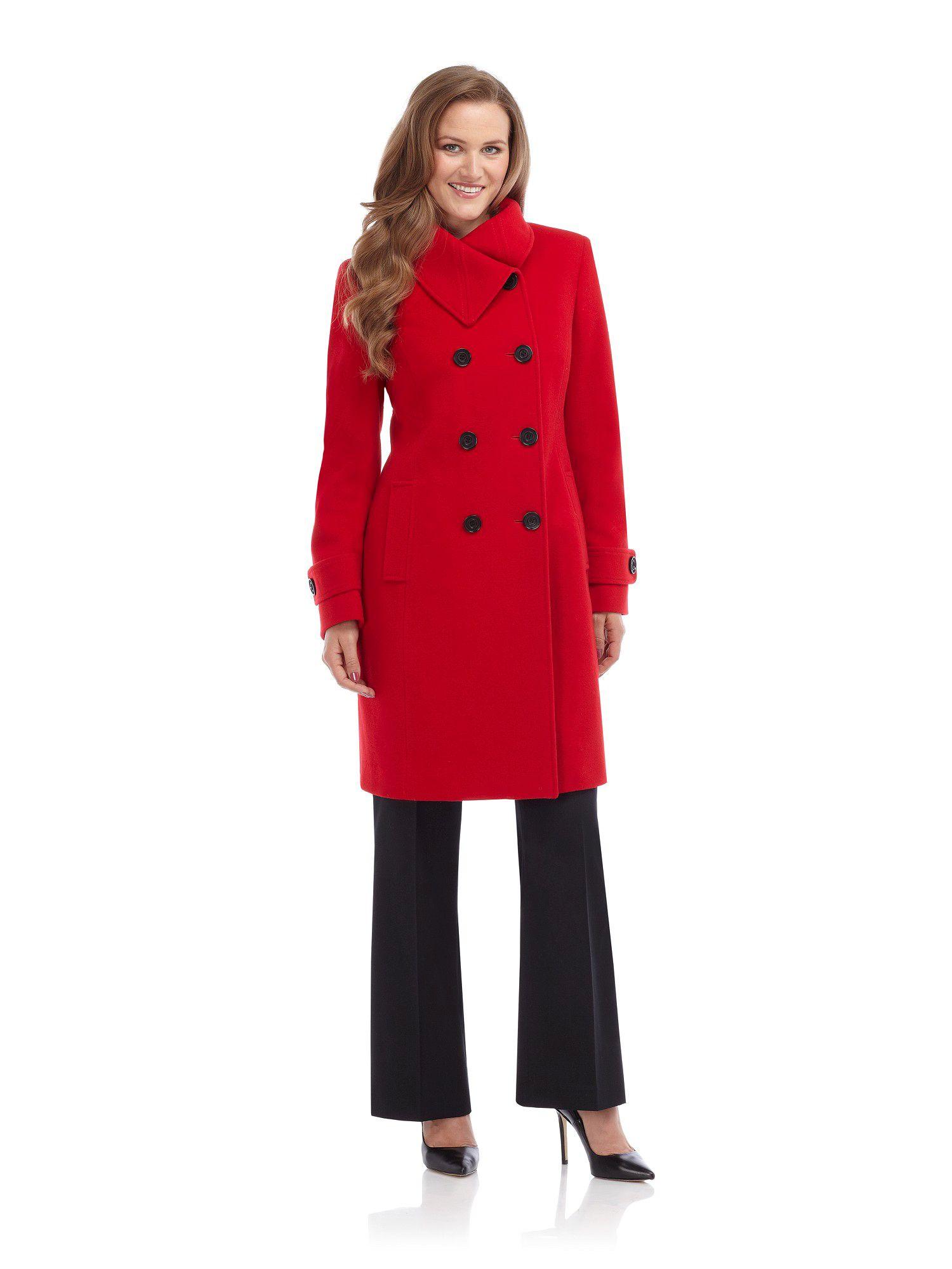 Precis petite Scarlet Wool Coat in Red | Lyst