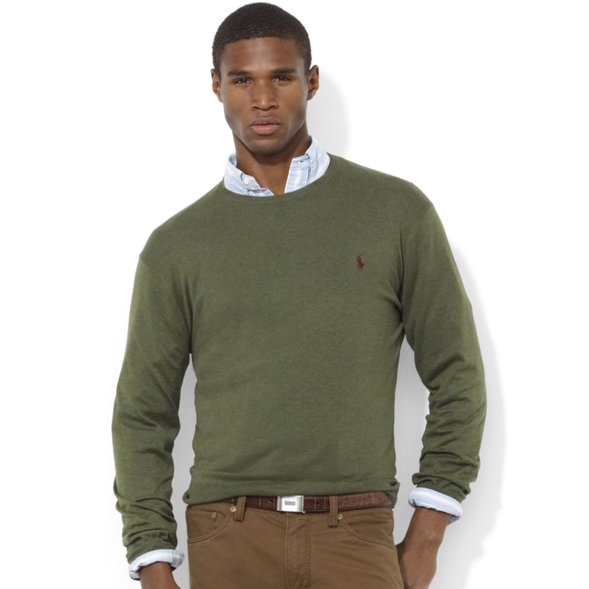 Ralph lauren Crew Neck Pima Cotton Sweater in Green for Men | Lyst