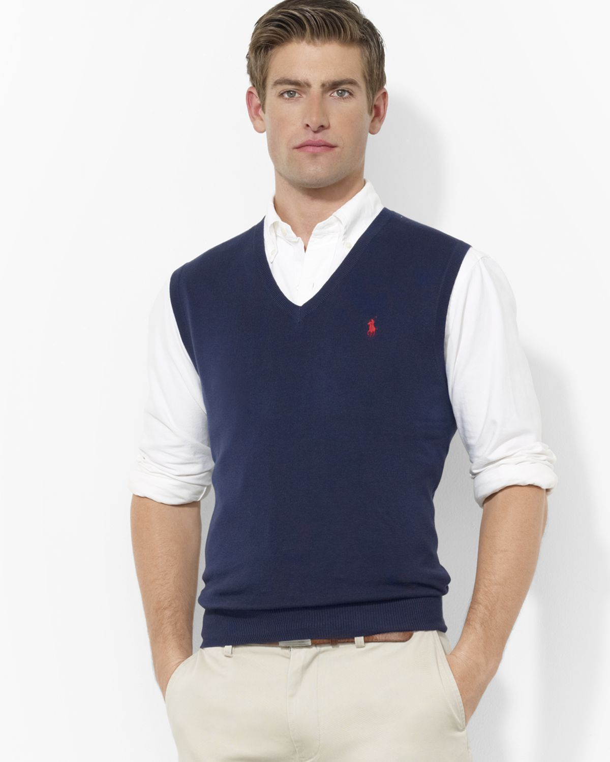 Pink pony Polo Pima Cotton Sweater Vest in Blue for Men | Lyst