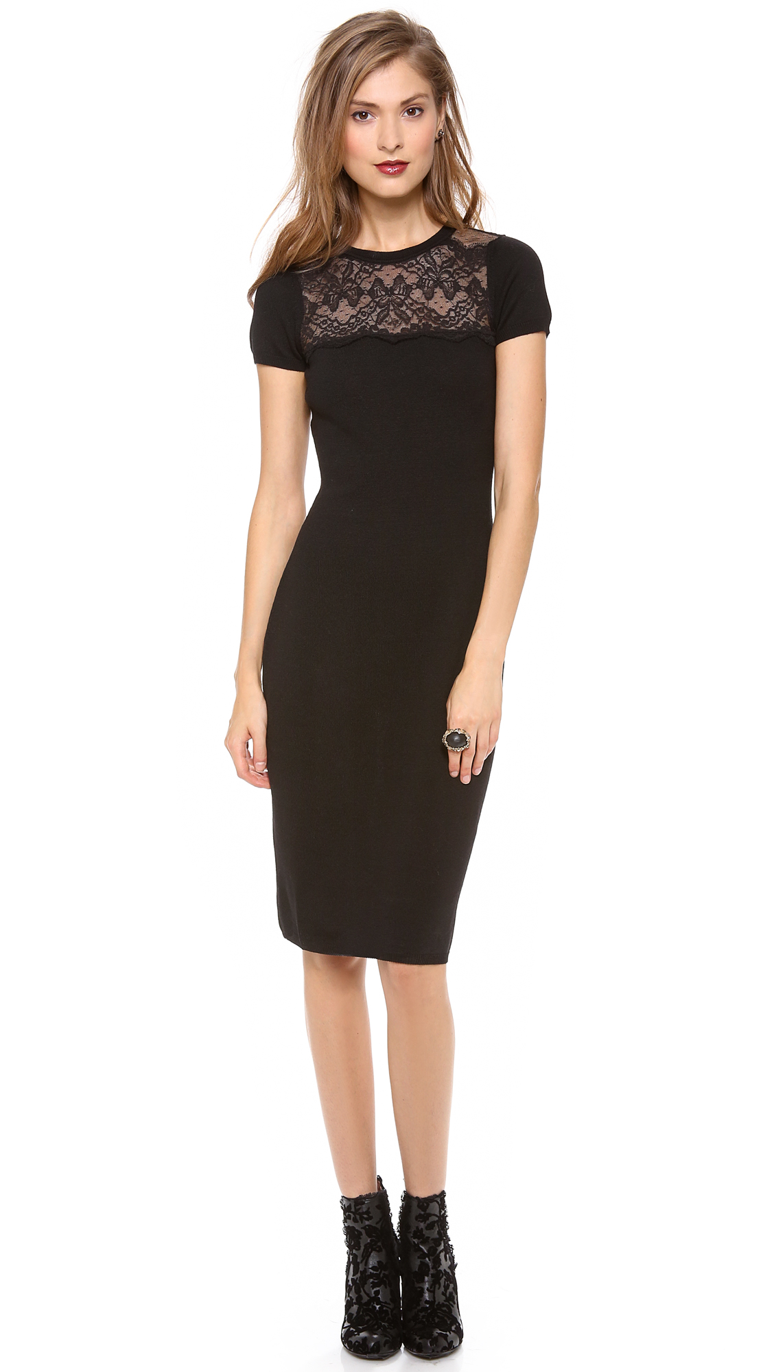 Lyst Red Valentino Lace Top Pencil Dress In Black