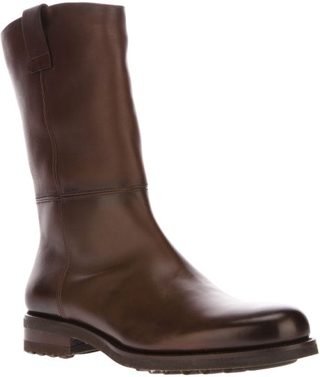 santoni fur lined boot in brown for lyst