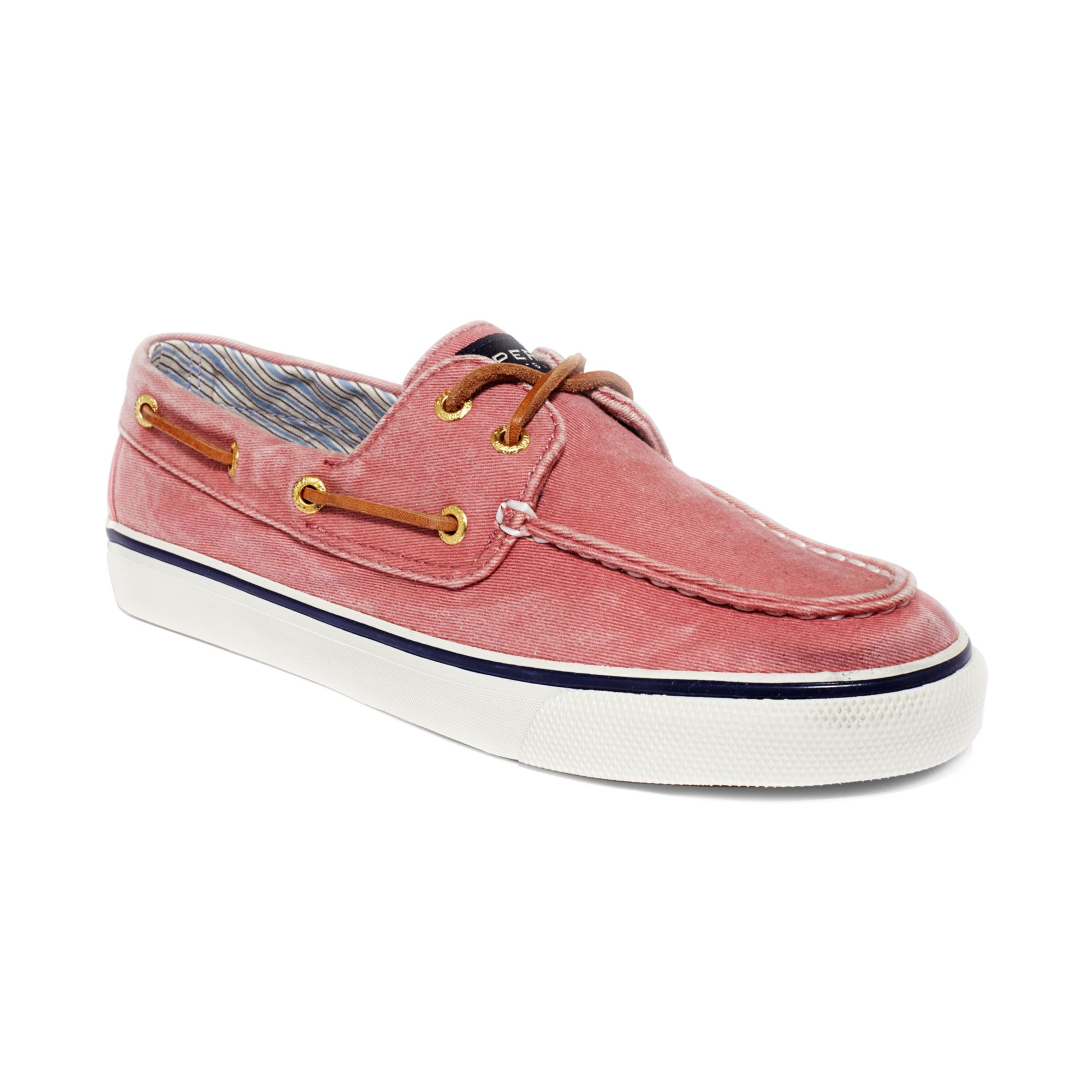 sperry top sider bahama boat shoes in pink wased