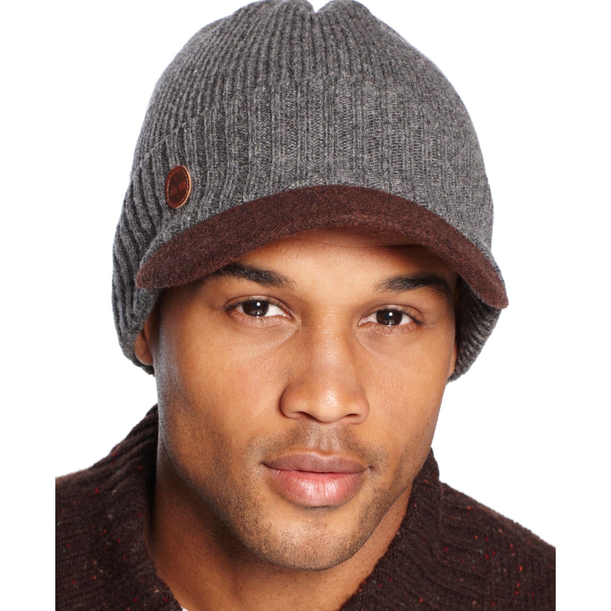 b0ec5225e7c Lyst - Timberland Wool Visor Beanie in Gray for Men