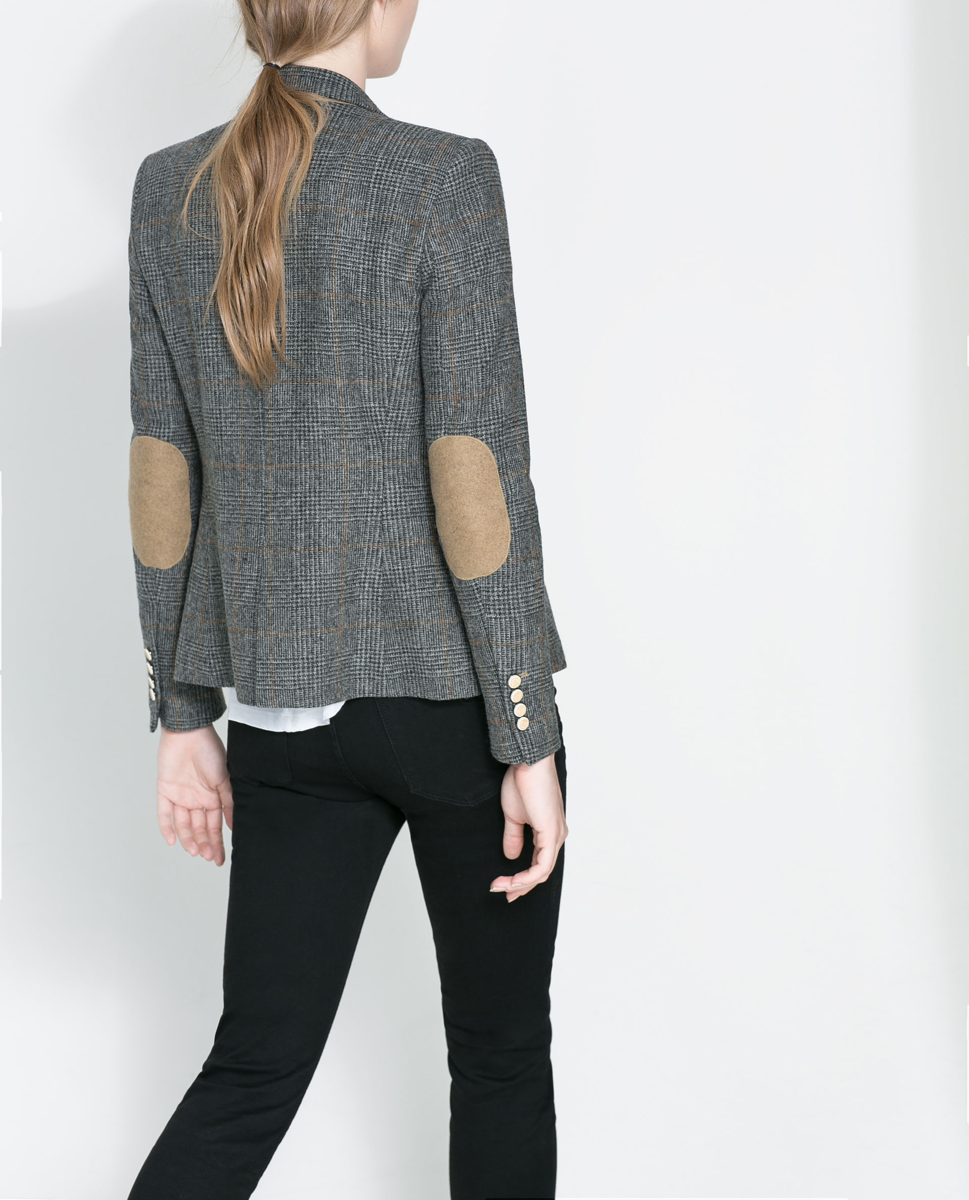 Zara checked blazer with elbow patches in gray lyst