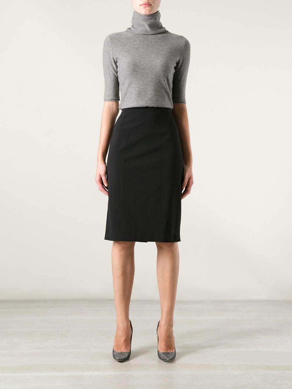 Armani Straight Skirt in Black | Lyst
