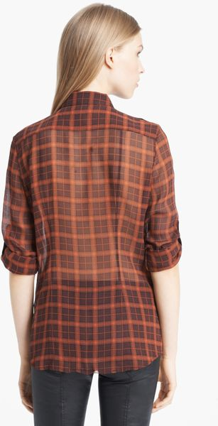 Burberry Brit Plaid Silk Tunic Shirt In Purple Deep
