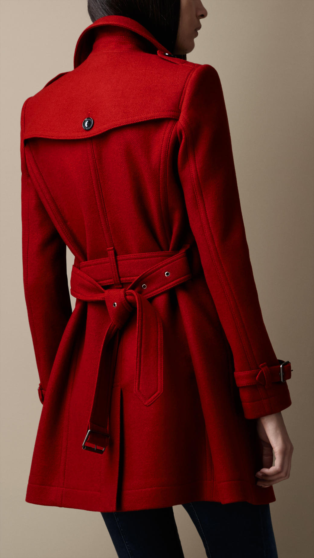 345c8365792e Lyst - Burberry Midlength Wool Blend Trench Coat in Red