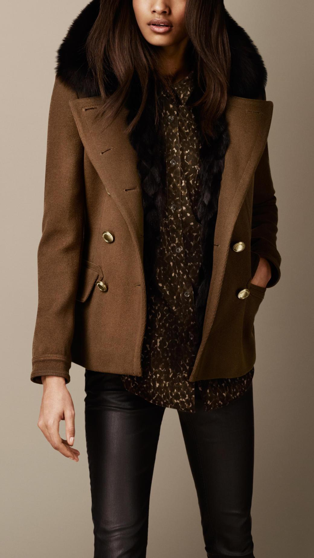 Burberry Fur Trim Pea Coat in Brown | Lyst