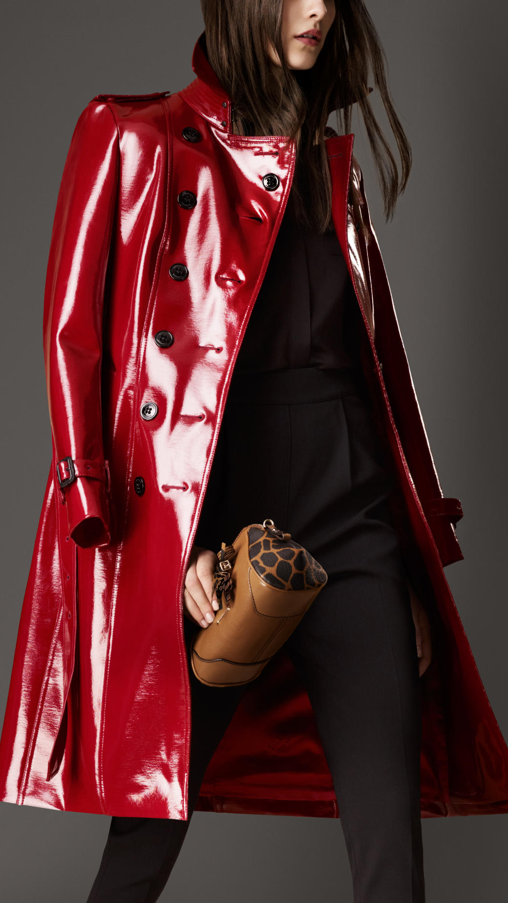 Lyst Burberry Long Patent Finish Trench Coat In Red