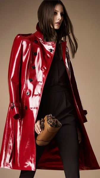 Burberry Long Patent Finish Trench Coat In Red Lacquer