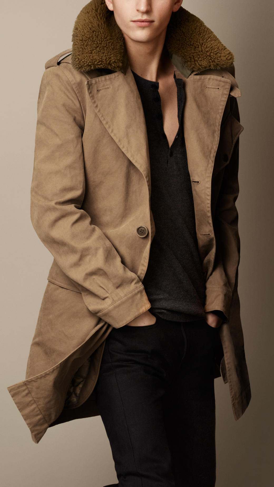 Burberry Shearling Collar Heritage Trench Coat in Brown for Men | Lyst
