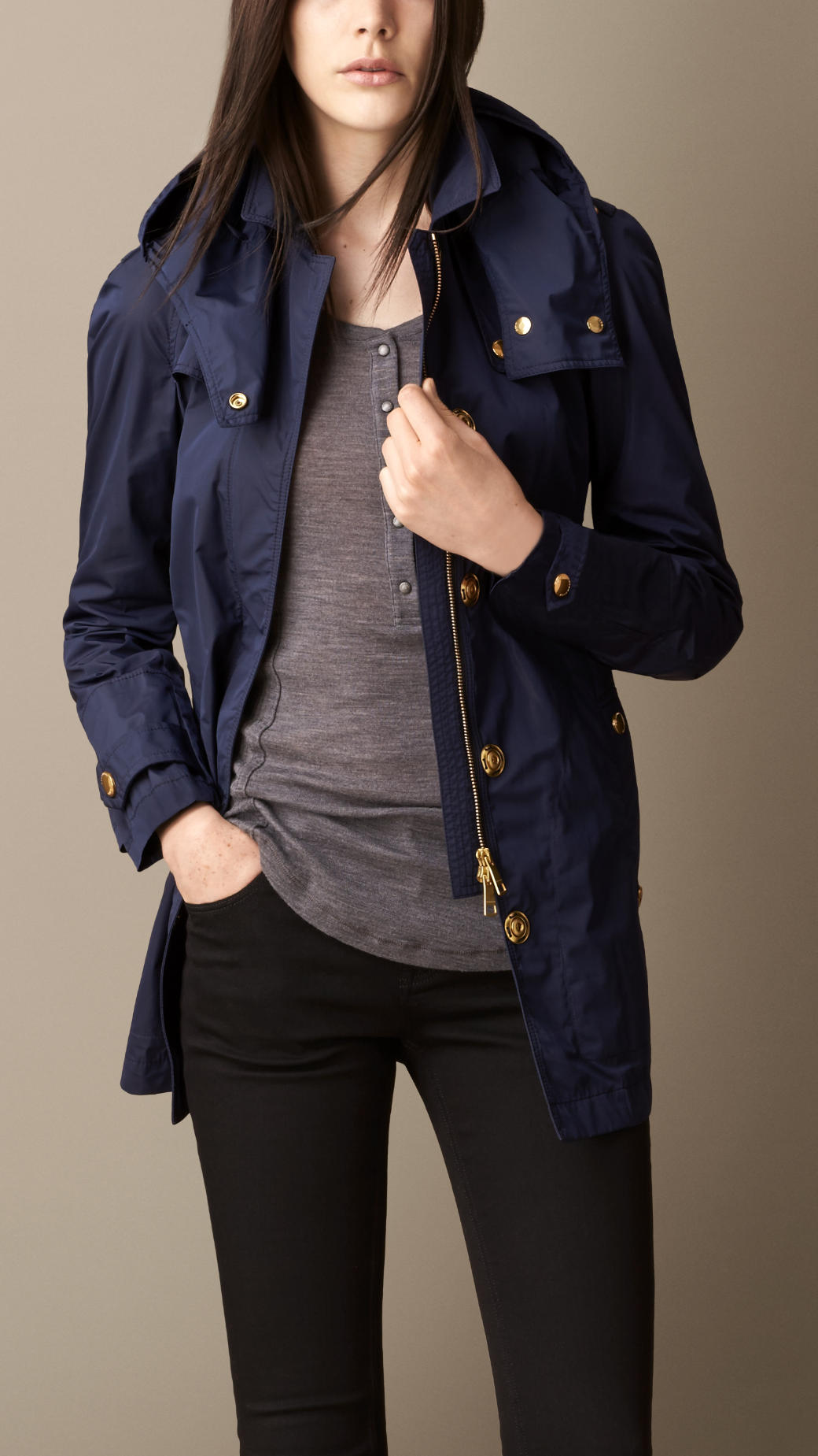 Burberry Lightweight Belted Parka in Blue | Lyst