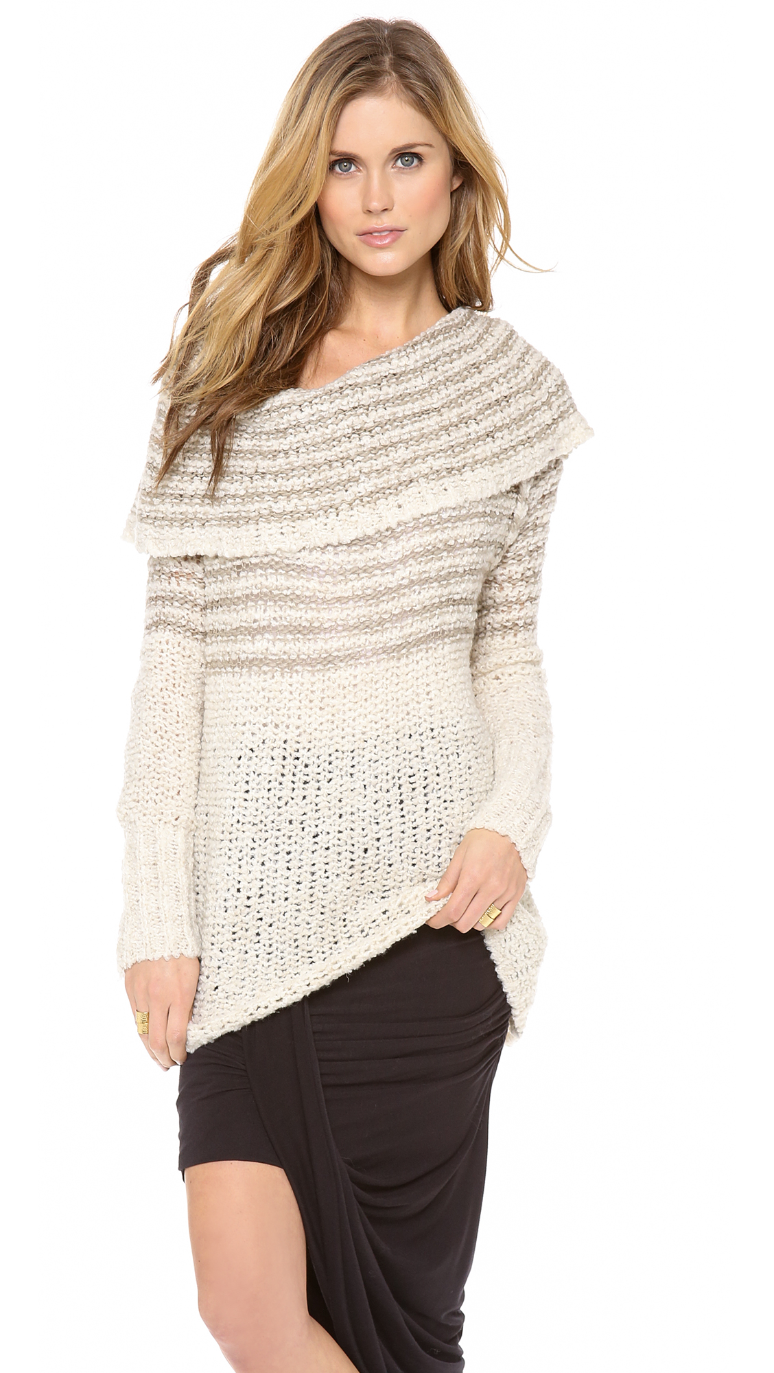 Free people Striped Cowl Sweater in Natural | Lyst
