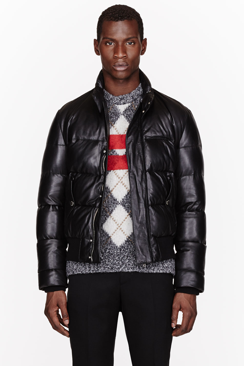 Givenchy Black Leather And Down Quilted Jacket In Black For Men Lyst