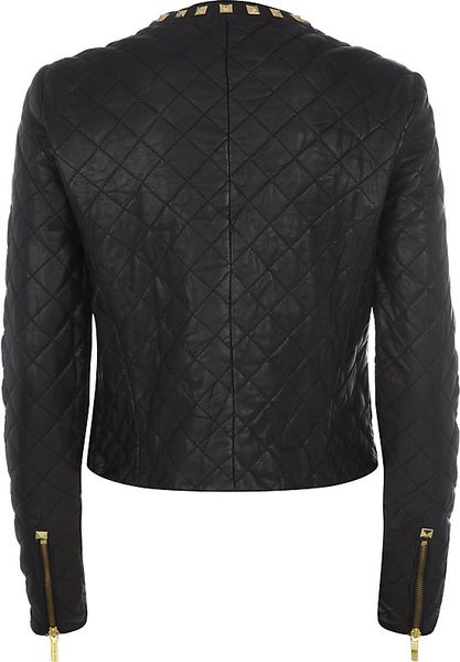 Leather jacket with gold studs