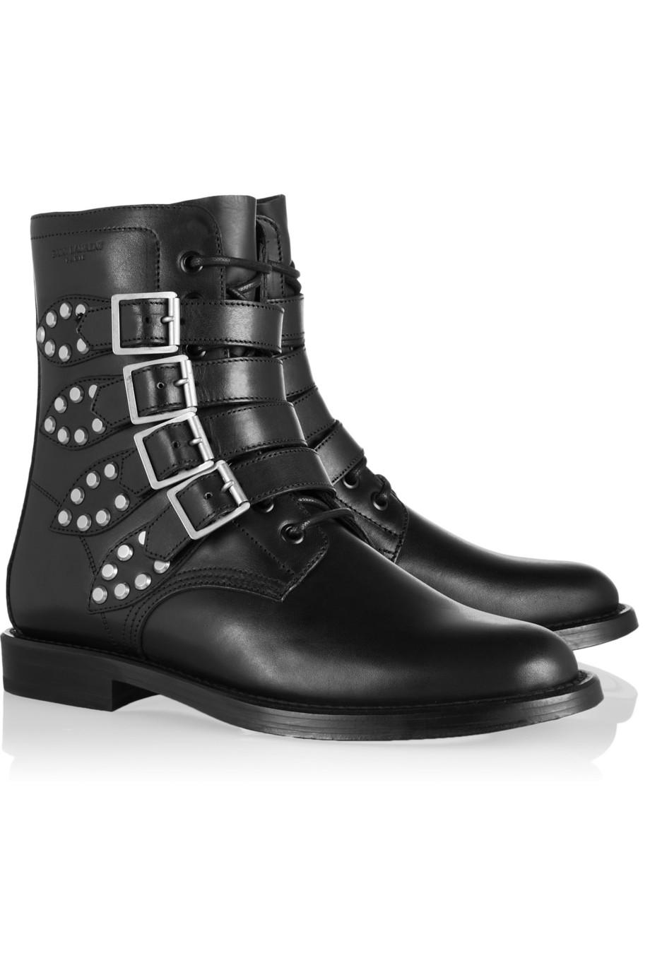 Saint Laurent Black Leather And Lace Shoes