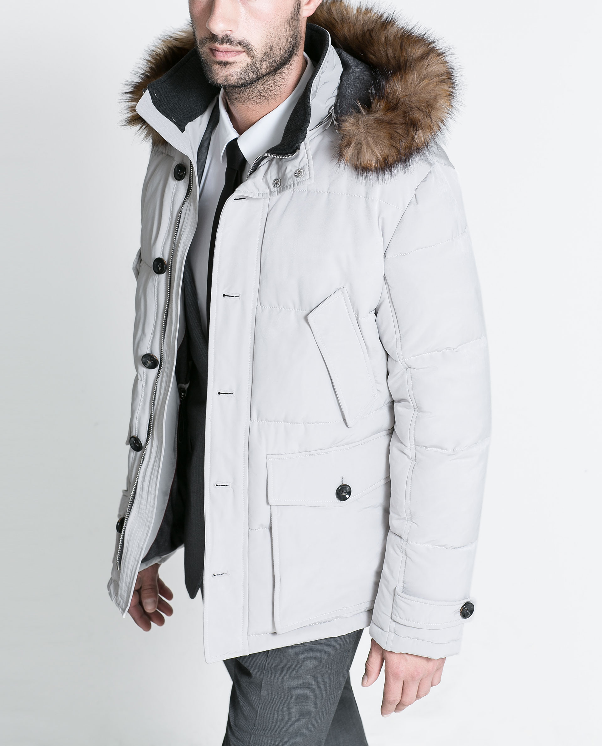 White Coat With Fur Hood - JacketIn