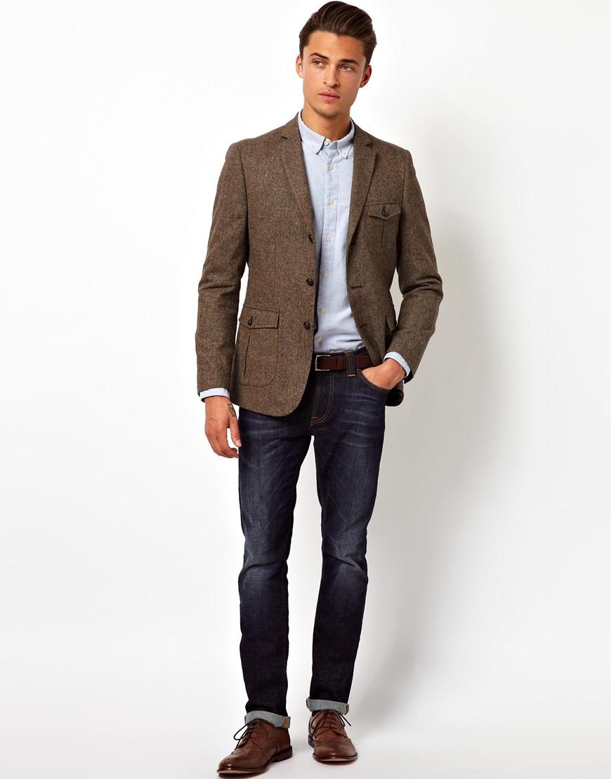 asos slim fit blazer in donegal in brown for men lyst. Black Bedroom Furniture Sets. Home Design Ideas
