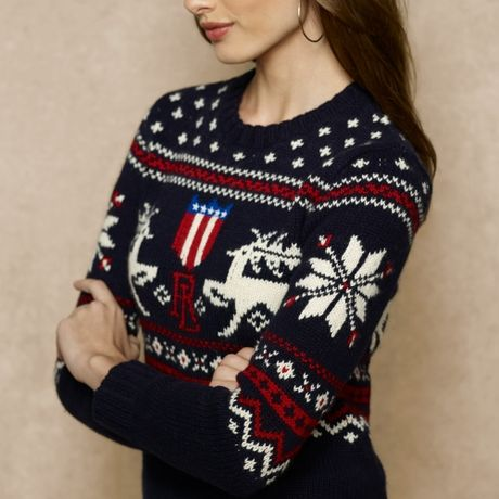 Ralph Lauren Blue Label Intarsia Knit Reindeer Sweater In