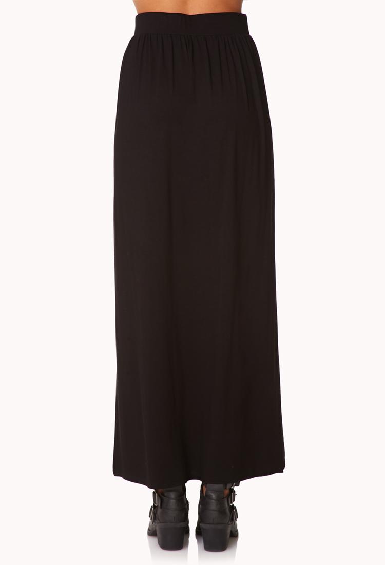 forever 21 slit maxi skirt in black lyst