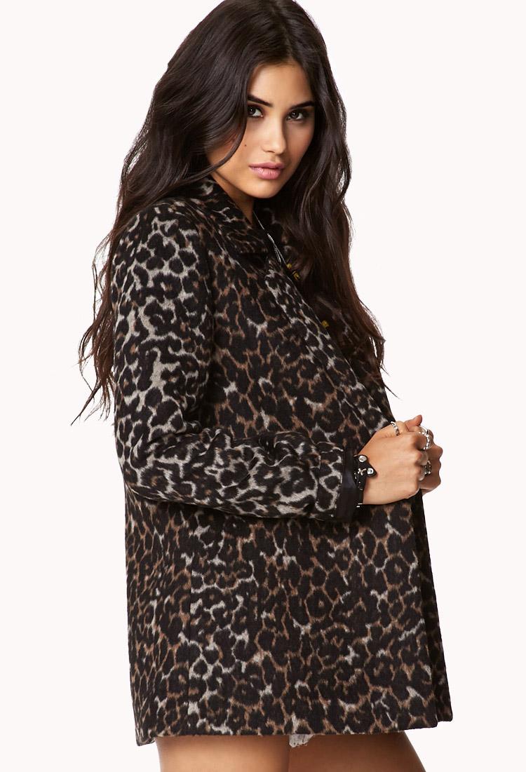 ea3ffb3e3b79 Forever 21 Leopard Print Pea Coat in Brown - Lyst