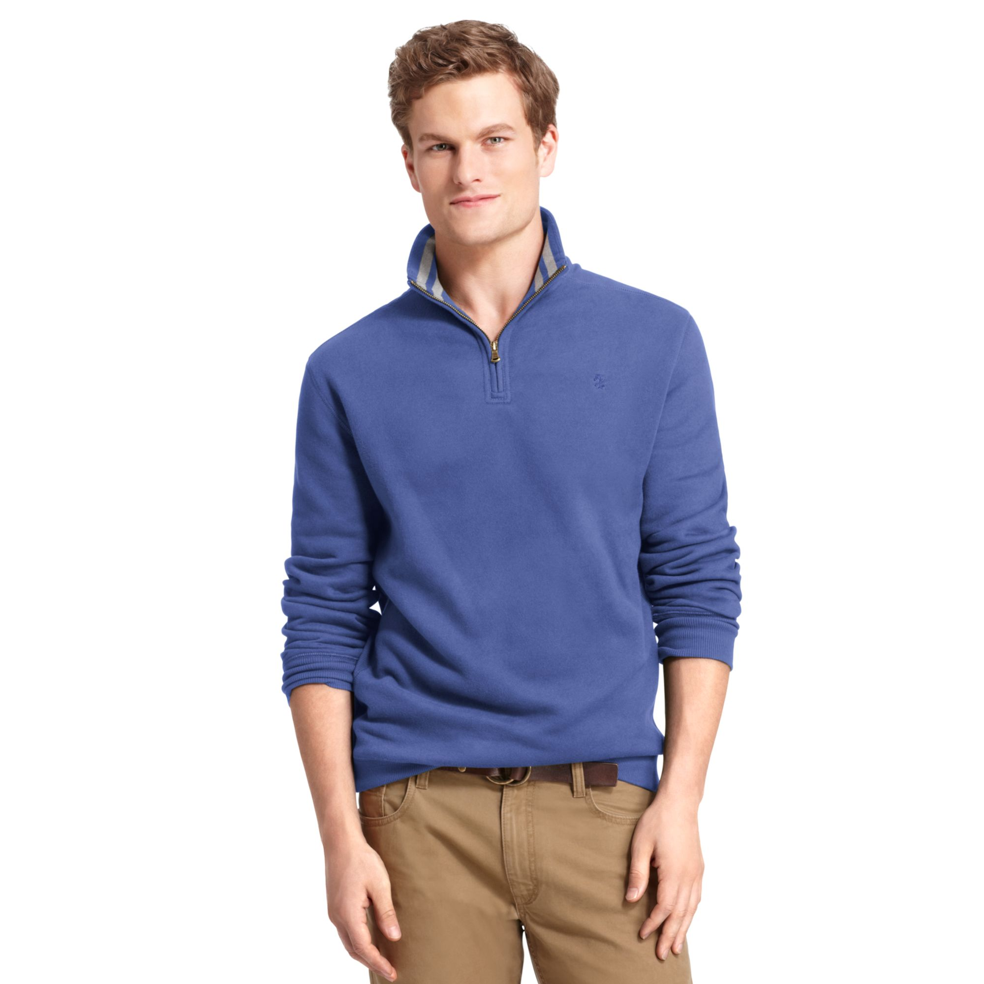 Izod big and tall shirt sueded fleece pullover in blue for for Izod big and tall shirts