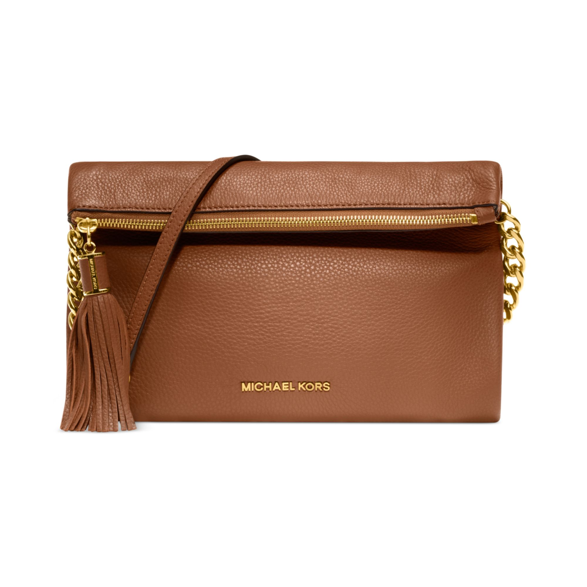 michael kors weston clutch in brown luggage lyst